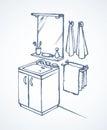 Mirror over washbasin in bathroom. Vector drawing