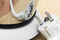Mirror reflection of electrical plug detail a electric tea kettle Royalty Free Stock Images