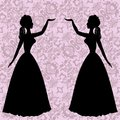 Mirror silhouettes dancing women on ornamental background in rococo style