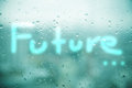 Mirror windows with rain drops in with word 'Future' urban Royalty Free Stock Photo