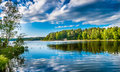 Mirroring lake a beautiful in the swedish city of sodertalje stockholm Royalty Free Stock Images