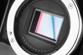 Mirrorless camera sensor photo without lens and bay opened Royalty Free Stock Photography