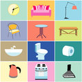 Misc furniture and household items set of objects for the house on colored backgrounds Stock Photography
