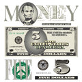 Miscellaneous dollar bill elements for print or web Stock Photo