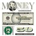 Miscellaneous 50 dollar bill elements Royalty Free Stock Photo