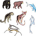 Miscellaneous mammal animals vector images of set of illustrations Royalty Free Stock Images