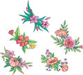 Miscellaneous pink flowers for ornaments Royalty Free Stock Image