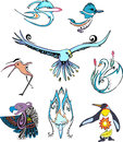 Miscellaneous stylized birds set of color vector animal icons Stock Photography