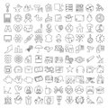Miscellaneous thin line icons set one hundred for web design and infographics Stock Image