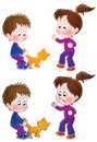 Mischievous boy and girl teasing the cat Royalty Free Stock Photo