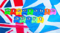 Miserable apart scottish and british flags with the words in colorful jigsaw style lower case letters relating to the outcome of Royalty Free Stock Image