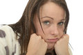Miserable Bored Depressed Young Woman Feeling Unmotivated and Lazy Royalty Free Stock Photo