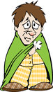 Miserable male with a cold cartoon of sad man feeling sick flu Stock Photography