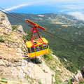 Mishor crimea ukraine may people travel by rope way cab on top of ai petri mountain on may in mishor ukraine rus russia this road Royalty Free Stock Images