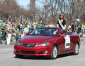 Miss Indianapolis Colleen Finn greeting people at the Annual St Patrick's Day Parade