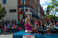Miss porter county parade royalty waves her perch back convertible valparaiso popcorn festival parade Royalty Free Stock Photo