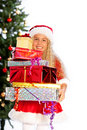 Miss santa holding  gifts Stock Photography