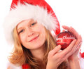 Miss Santa is Holding a Red Christmas Tree Ball Stock Photography
