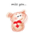 Miss you funny soft animal with a heart on a white background Stock Images