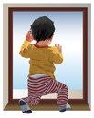Miss you mama small one year old child kneel and looking at window waiting for color vector illustration Royalty Free Stock Image