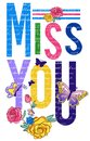 Miss you typograpy  t-shirt vector quotes butterfly and flowers design for apparels Royalty Free Stock Photo