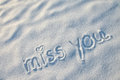 Miss you writing on the snow Stock Photo