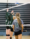 Missed block a volleyball match between two college teams in redding california photo taken september in the shasta college gym Stock Image