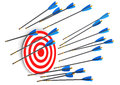 Missed red target with arrows on the white background Royalty Free Stock Photo