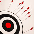 Missed target shows failure unsuccessful aim showing loss and Stock Images