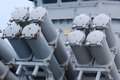 Missile launchers an array of on board a patrol ship Stock Image