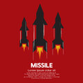 Missile on red background vector illustration Royalty Free Stock Images