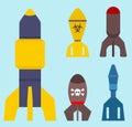 Missile rocket set icon vector illustration cartoon isolated bomb flat style background threat