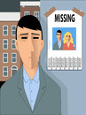 Missing happiness sad man looking at a poster with a photo of him and a young woman happy vector illustration for divorce Royalty Free Stock Photo