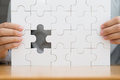Missing jigsaw puzzle piece. Search successful business concept Royalty Free Stock Photo