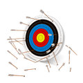 Missing the mark multiple arrows target Stock Photo