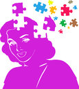 Missing pieces mental puzzle an illustration featuring a smiling female head silhouette in purple with from the head to represent Royalty Free Stock Photos