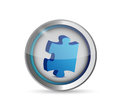 Missing puzzle piece button illustration design over white Royalty Free Stock Photos