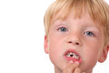 Missing teeth closeup of little boy with Stock Images
