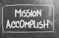 Mission accomplish concept handwritten with chalk on a blackboard Royalty Free Stock Image