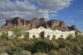 Mission Revival adobe house in a desert Royalty Free Stock Images