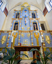 Mission san jose chapel interior view of the ornate sanctuary in antonio tx Royalty Free Stock Image