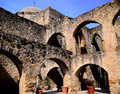 Mission San Jose corner of arches Royalty Free Stock Photo