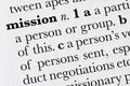 Mission word dictionary defini Stock Photography