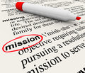 Mission word dictionary definition red marker a page with the for the circled with a to define a task job objective or plan you Royalty Free Stock Images