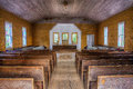 Missionary baptist church cades cove great smoky mountains beautiful woodwork inside the old in the mountain national park Royalty Free Stock Image