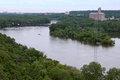 Mississippi river bends in saint paul aerial view of running through minnesota from smith avenue bridge Royalty Free Stock Photos