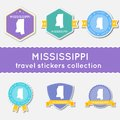 Mississippi travel stickers collection. Royalty Free Stock Photo