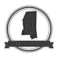 Mississippi vector map stamp. Royalty Free Stock Photo