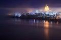 Missouri Capitol Skyline in the Fog Royalty Free Stock Photo