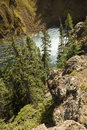 MIst at the bottom of Upper Falls of the Yellowstone River. Royalty Free Stock Photo